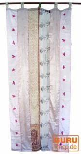 Vorhang (1 Stk.) Gardine aus Patchwork Sareestoff, Unikat - beige bunt