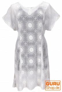 Kaftan, Ibiza-StyleTunika, Boho Bluse, Damen Kurzarm Maxibluse - weiß