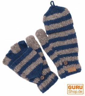Handgestrickte Handschuhe, gestreifte Klapphandschuhe Nepal, Wollhandschuhe - grau/petrol