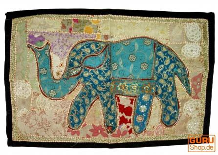 Indischer Wandteppich Patchwork Wandbehang mit Elefant, Einzelstück 90*65 cm - Muster 12