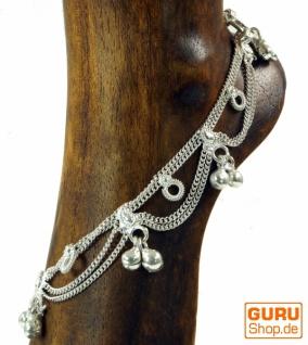 Indisches Fußkettchen, orientalische Weißmetall Fußkette - Model 9