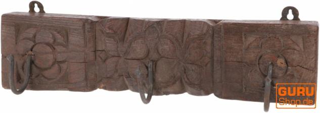 Indische Garderobenleiste, Vintage Wandhaken, Kleiderhaken, Garderobe aus alten Holzelementen - Modell 17