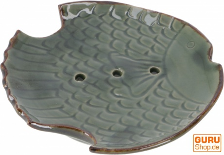 Exotische Keramik Seifenschale - Fisch/grün