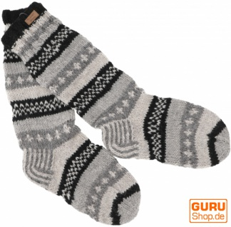 Handgestrickte Schafwollsocken, Nepal Socken 44-46 - grau/schwarz