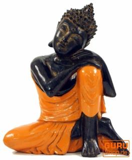 Geschnitzte sitzender Buddha Figur, träumender Buddha - orange/rechts