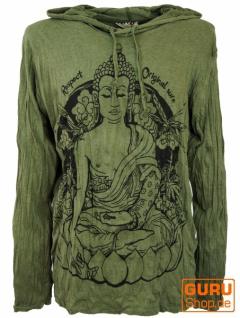 Sure Langarmshirt, Kapuzenshirt Meditation Buddha - olive