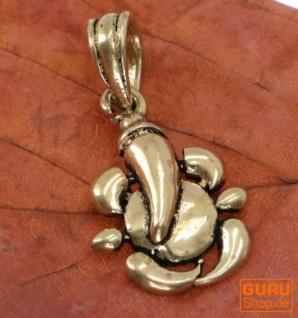 Amulett `sitzender Ganesha`, goldener Kettenanhänger aus Messing - Modell 2