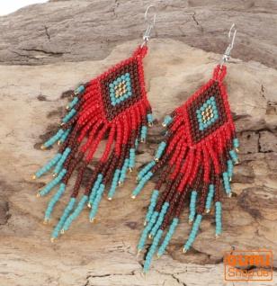 Indianerschmuck Ohrringe, Ethno Perlenohrringe - Modell 12