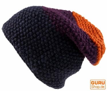 Wollmütze mit Perlmuster, Nepalmütze mit lila/bunt Streifenmuster - lila/bunt mit 27c6a0