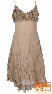 Boho Sommerkleid, luftiges Krinkelkleid, Maxikleid, Strandkleid - camel