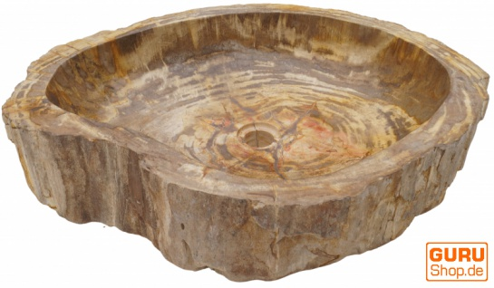Massives Fossiles Holz Aufsatz-Waschbecken, Waschschale, Naturstein Handwaschbecken - Modell 5