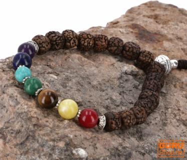 7 Chakran Mala Armband, Handmala mit Halbedelsteinen - Lotus seed Buddha Armband