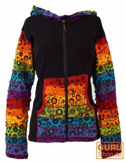 Patchwork Stonewash Regenbogen Jacke mit Zipfelkapuze, Goa Jacke - Modell 2
