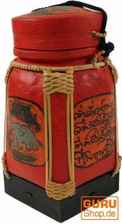 Reisbox, Traditionell bemaltes Deko Gefäß aus Rattan