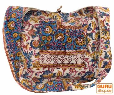 Sadhu Bag, Umhängetasche, Blockdruck Hippie Schultertasche - blau/Blumenmuster