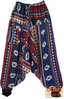 Flauschige Paisley Haremshose, Inka Pluderhose, Pumphose, Aladinhose - blau