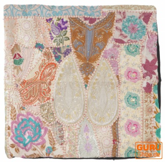 Patchwork Kissenhülle 60x60 cm, Dekokissen Bezug aus Rajasthan, Einzelstück - Muster 1