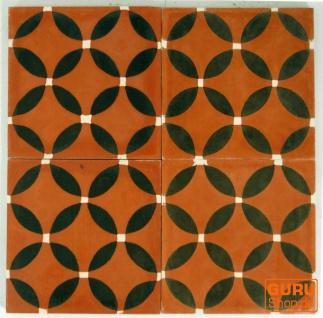 Zementfliesen Set, Ornament aus 4 Fliesen, braun - Design 7