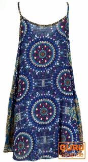 Boho Dashiki Minikleid, Trägerkleid, Strandkleid - petrol/flieder