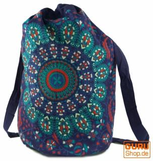 Turnbeutel Rucksack, indischer Mandala Schulterbeutel, Turnbeutel - blau