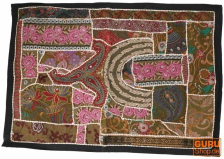 Indischer Wandteppich Patchwork Wandbehang, Einzelstück 90*65 cm - Muster 9