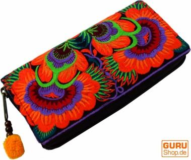 Besticktes Ethno Portemonnaie Chiang Mai, Boho Geldbeutel - orange
