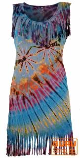 Batik Minikleid, Boho Fransenkleid - hellblau