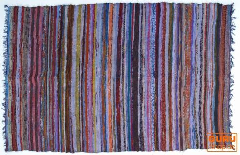 Leichter Flickenteppich, Flickendecke 100*160 cm - blau-bunt