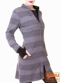 Kurzmantel aus Bio-Baumwolle / Chapati Design - grey stripe