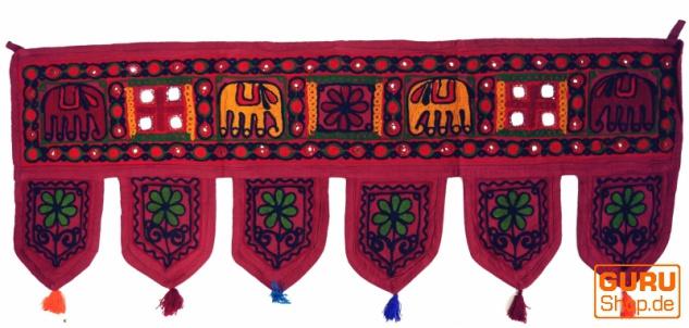 Indischer Wandbehang, Orientalischer Wimpel mit Pailletten, Toran - Elefant rot - Vorschau