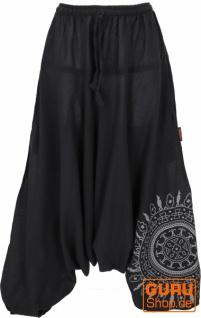 Haremshose Pluderhose, Pumphose mit Mandala, Aladinhose aus Baumwolle - schwarz