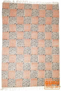 Handgewebter Blockdruck Teppich aus natur Baumwolle mit traditionellem Design - Muster 27