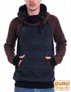 Pullover mit Kapuze aus Bio-Baumwolle / Chapati Design - charcoal black