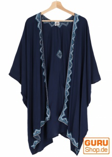 Kurzer bestickter Sommer Kimono, Kaftan, Strandkleid - nachtblau