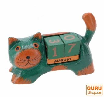 Holz Kalender - Katze grün - Vorschau 2