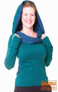 Pullover aus Bio-Baumwolle mit Kapuze / Chapati Design - peacock blue