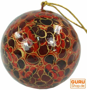 Upcyceling Weihnachtskugel aus Pappmachee, Handbemalter Christbaumschmuck, Kaschmirkugeln - Muster 10