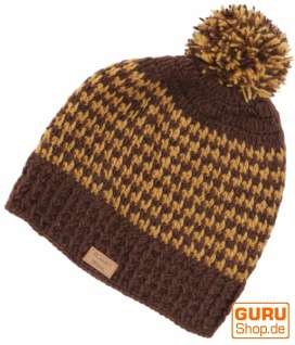 Beanie Mütze, Bommelmütze, Wollmütze aus Nepal - braun/caramel