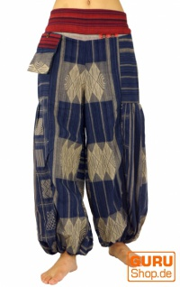 Weite Pluderhose mit breitem gewebtem Bund - blau