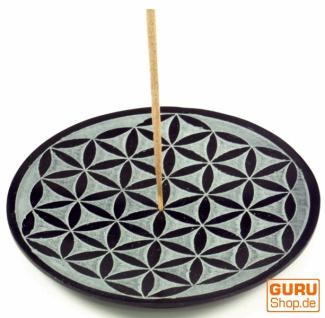 Indischer Räucherstäbchenhalter aus Speckstein, Kerzenteller - Blume des Lebens 1