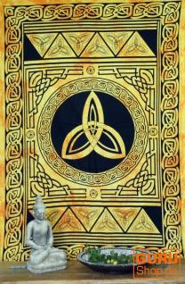 Indisches Wandtuch, Batik Tagesdecke - Keltischer Knoten / goldgelb