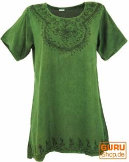 Besticktes indisches Hippie Top, Boho-chic Bluse - grün