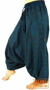 Haremshose Pluderhose Pumphose Aladinhose aus Baumwolle - türkis