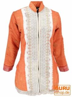 Indische Boho Seidenbrokat Jacke, Sareeseide Mantel, Einzelstück, rostorange - Modell 9