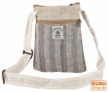 Hanf Schultertasche, Hippie Tasche, Nepal Tasche - natur/grau