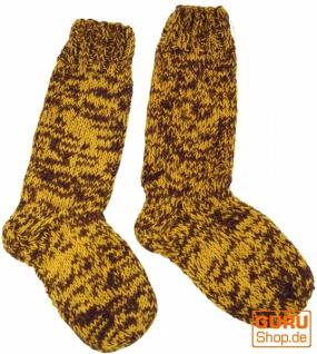 Handgestrickte Schafwollsocken, Haussocken, Nepal Socken - gelb/braun