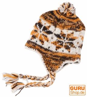 Wollmütze mit Ohrenklappen, Nepalmütze - weiß/orange