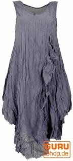 Boho Sommerkleid, luftiges Krinkelkleid, Maxikleid, Strandkleid - taubenblau