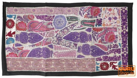 Indischer Wandteppich Patchwork Wandbehang, Tischläufer, Einzelstück 85*45 cm - Muster 22