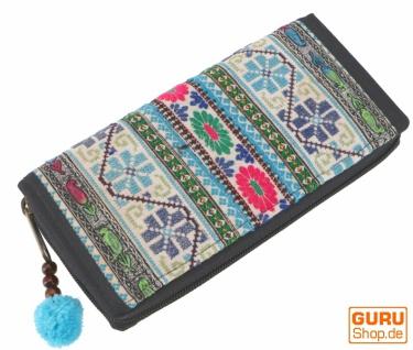 Besticktes Ethno Portemonnaie Chiang Mai, Boho Geldbeutel - blau/bunt - Vorschau 2